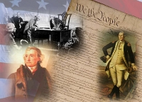 Artistic view of US Founding Documents and Convention